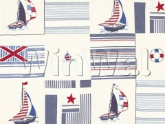 Ткани Jane Churchill - Sailing Patchwork Red/Blue Jane Churchill