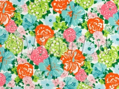 Ткани Lee Jofa - HERITAGE FLORAL II AQUA/ORANGE 2016103.512 Lee Jofa