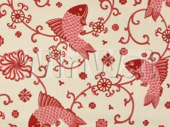 Ткани Lee Jofa - ORIENTAL FISHES RED ON 949101.LJ Lee Jofa